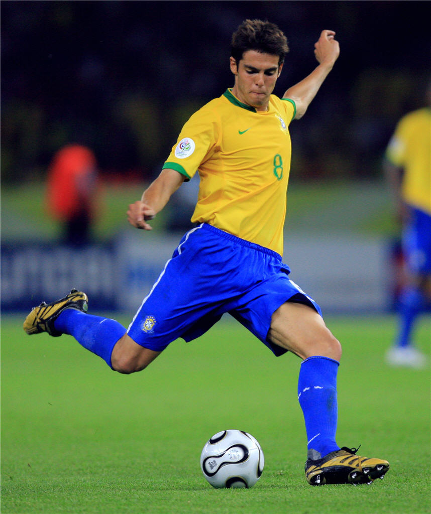 Ricardo Kaka from Brazil giving his best shot
