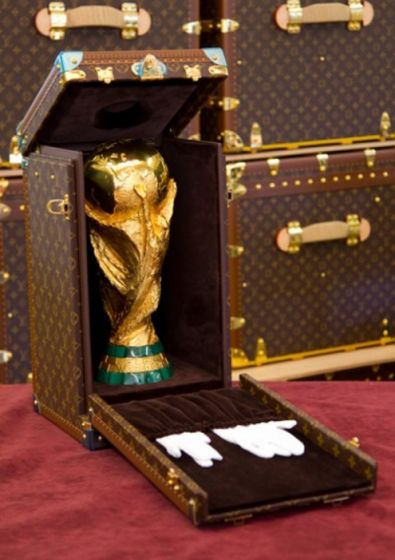 The World Cup Trophy Encased in a Louis Vuitton Travel Case