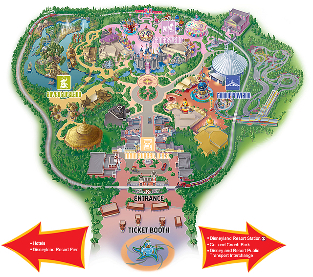 A map of Hong Kong Disneyland