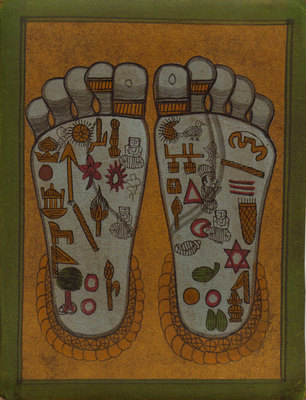 Example of Vishnu Pada (the feet of Vishnu)