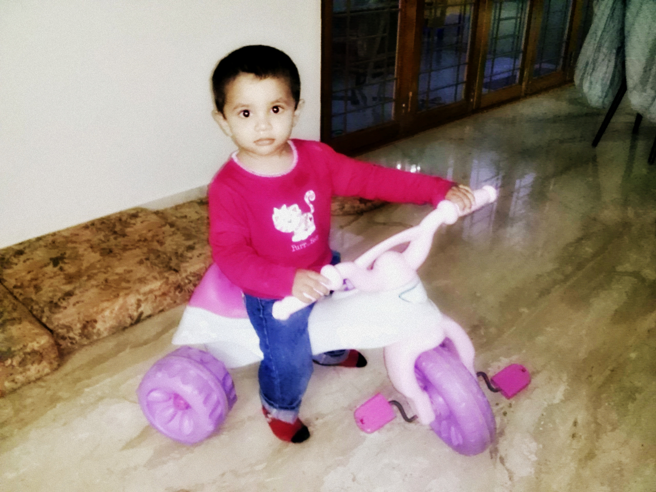 Piglet on his Barbie tricycle
