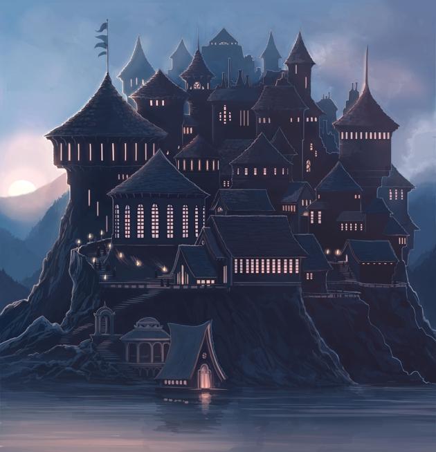 Lovely spine art of Hogwarts