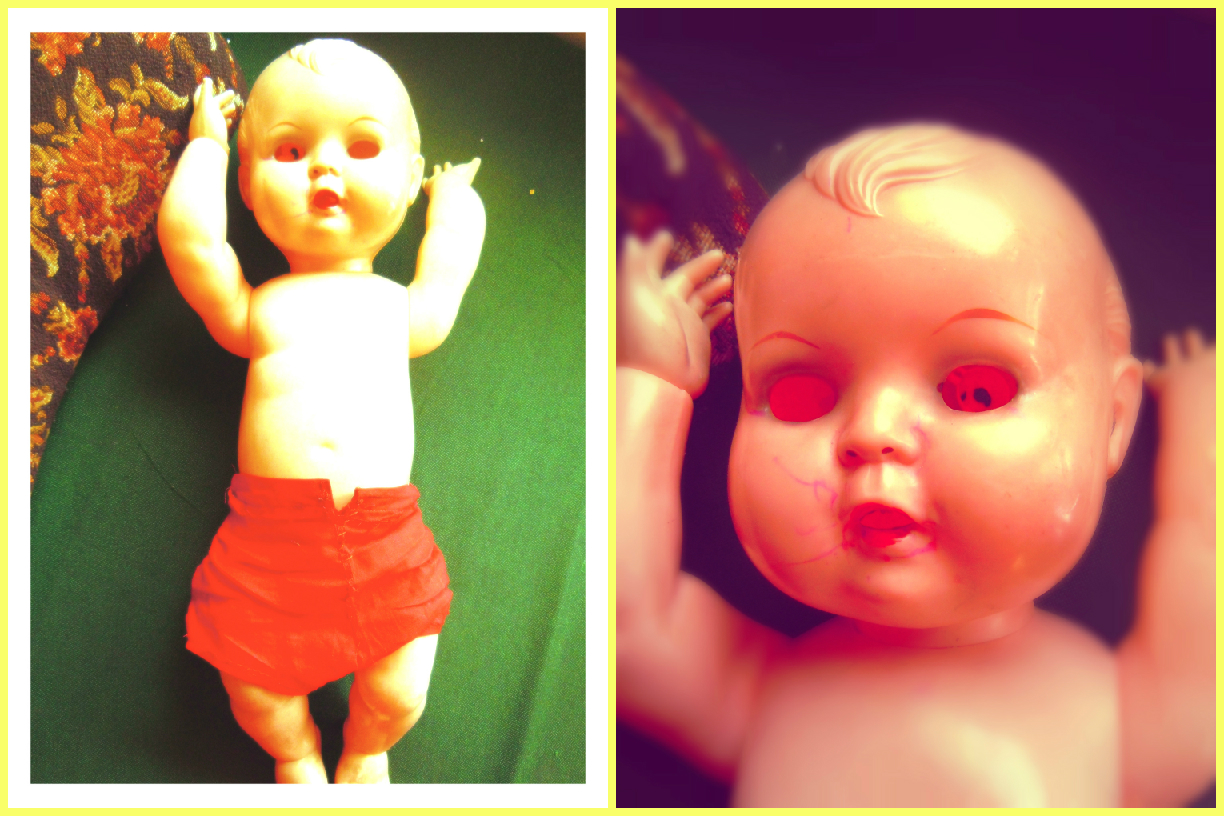 Doll with the eyes gouged out. Look closely at the second photo to see the eyes rattling in his head