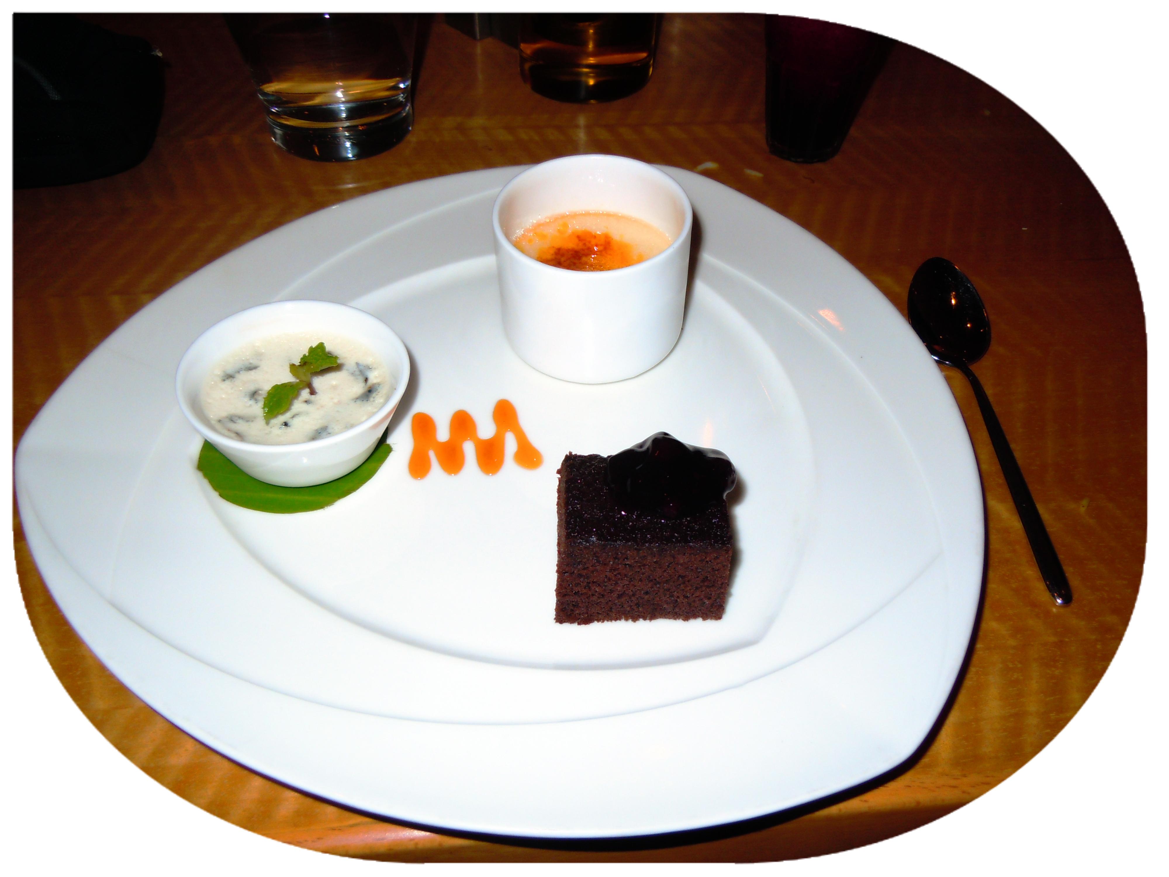 Desserts: Crème brûlée, chocolate cake, and baked yoghurt