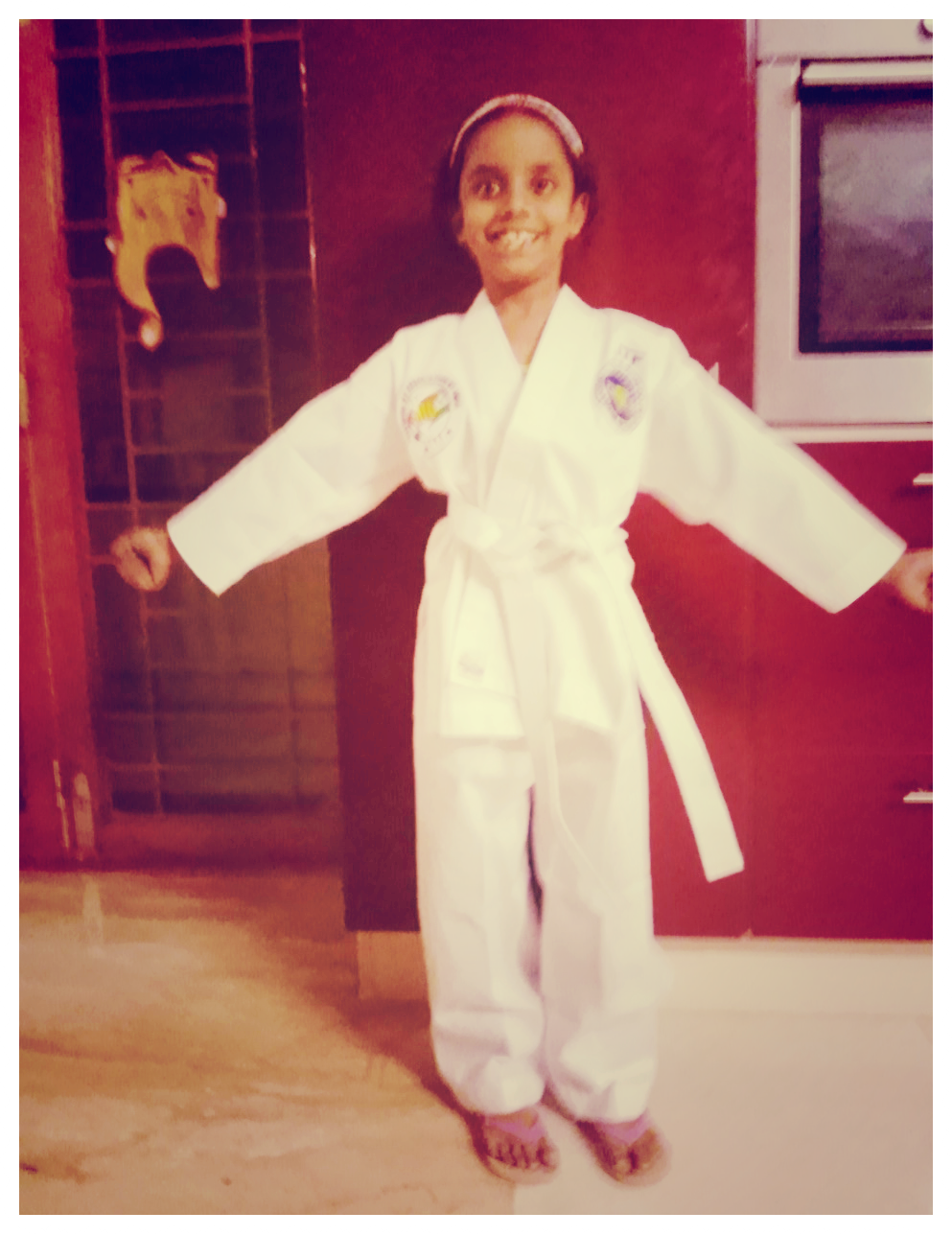 In her new taekwondo dress