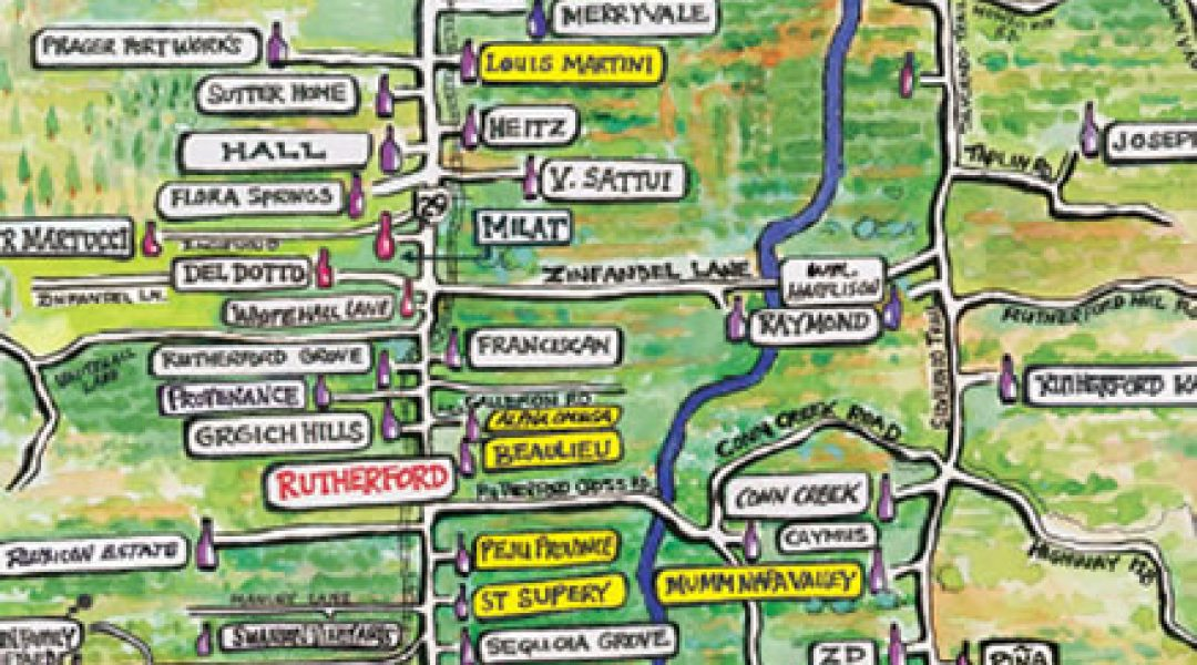 Simplified Napa Valley map showing all the winery locations