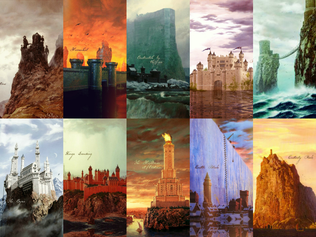 From left to right: Dragonstone, Harrenhal, Eastwatch by the sea, Riverrun, Pyke, The Eyrie, King's Landing, The Hightower at Oldtown, Castle Black, and Casterly Rock