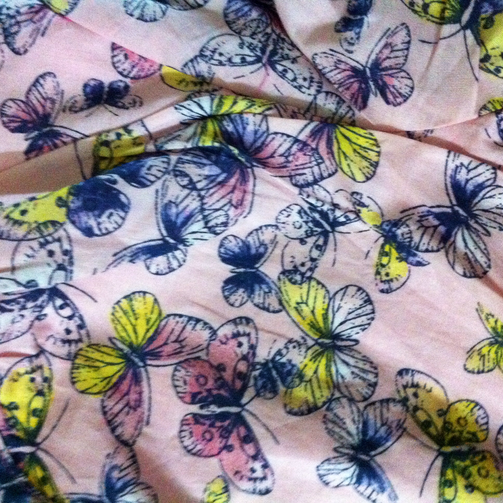 Close-up of the butterfly print