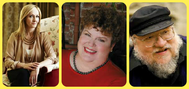 J.K.Rowling, Charlaine Harris, and George R.R.Martin