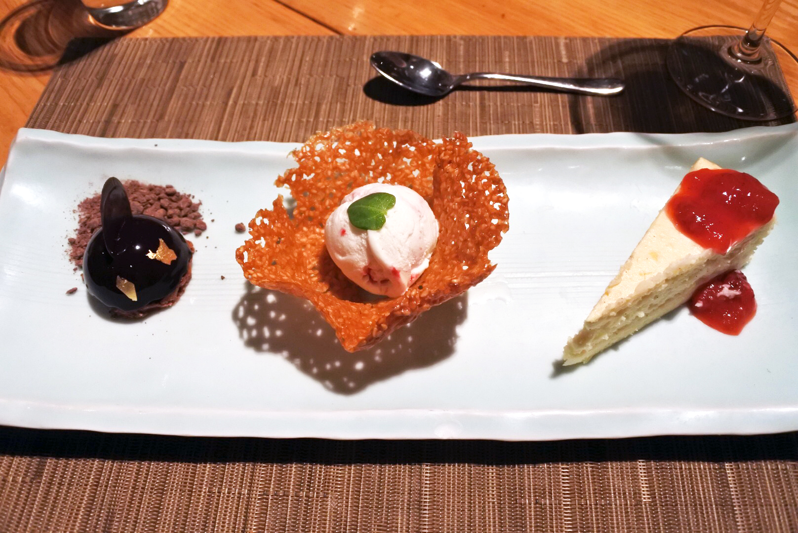 Cheesecake, ice cream, and mousse for dessert