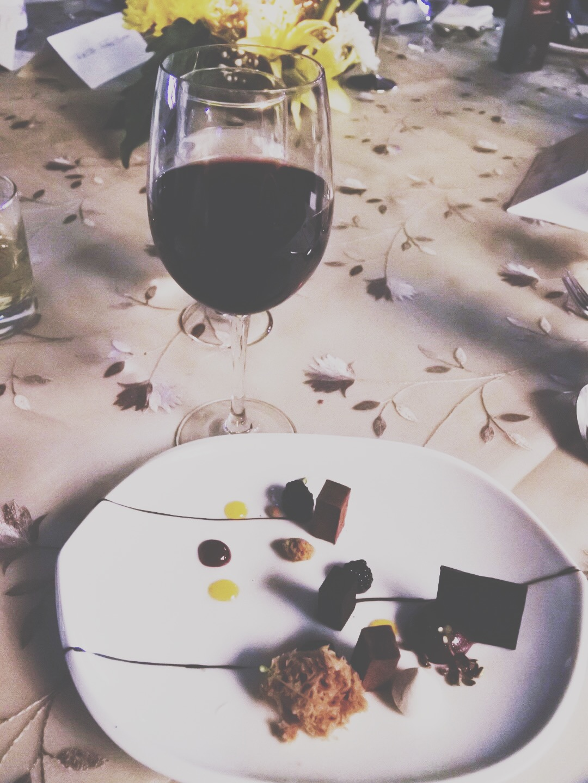 The ganache and wine