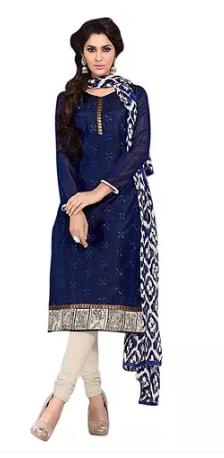 Li Te Ra Blue Chanderi Embroidred Dress Material