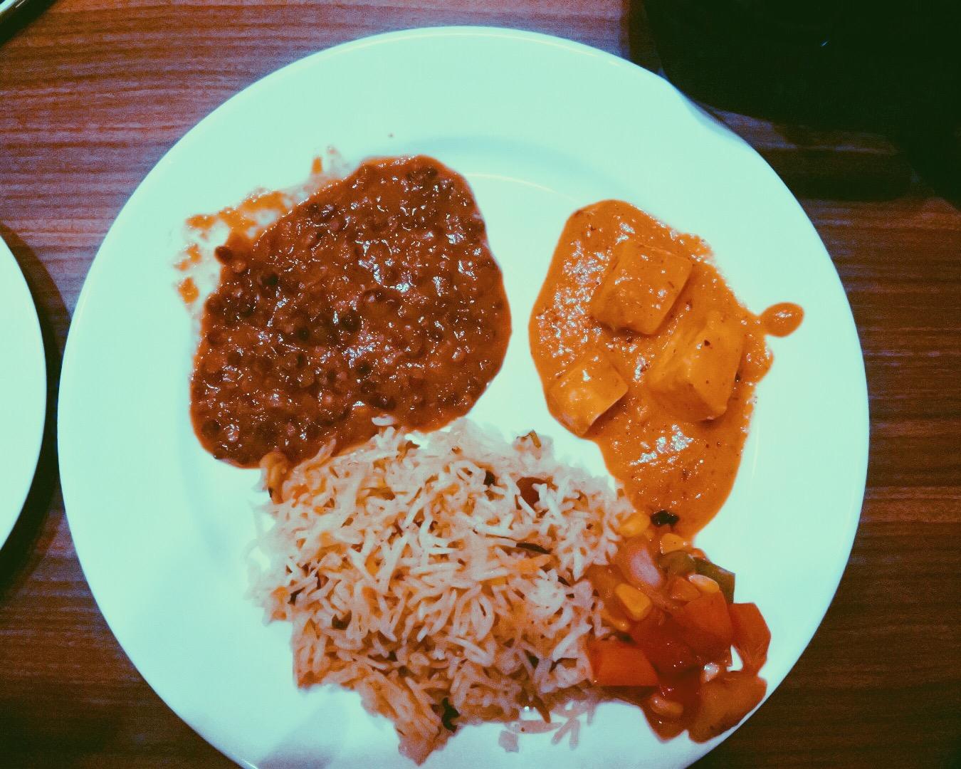 My main dish - biryani with dal, paneer, and salad