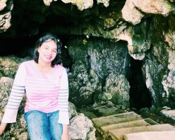 At the entrance to the cave