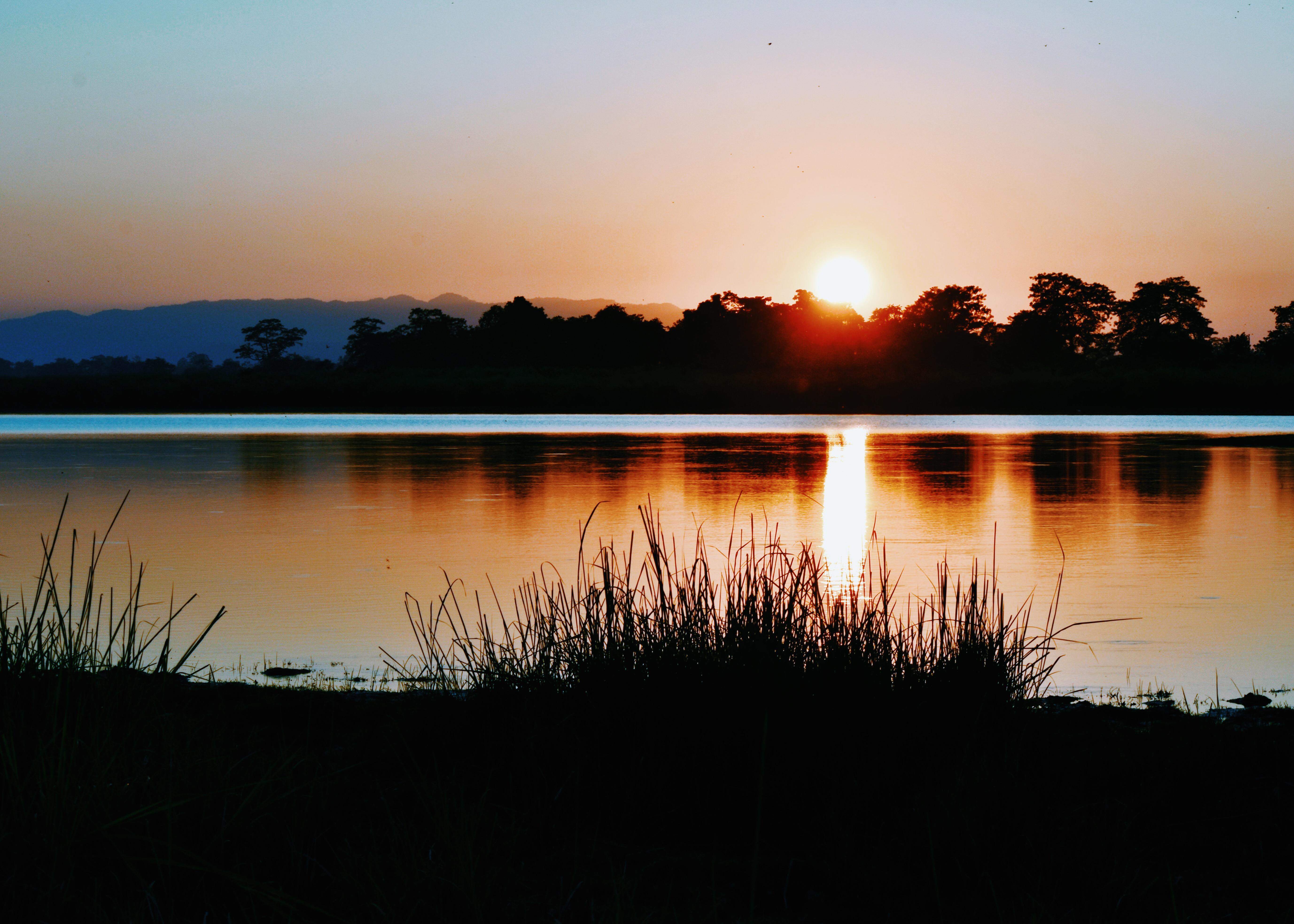 Brilliant sunset over Kaziranga